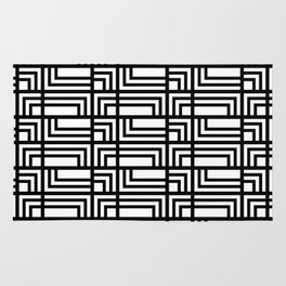 Art Deo Black and White Rectangle and Square Pattern Rug