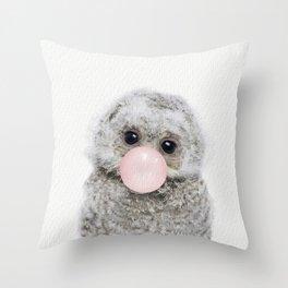 Bubble Gum Baby Owl Throw Pillow