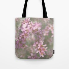 Abstract Pink and Green Flowers Tote Bag