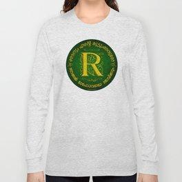 Joshua 24:15 - (Gold on Green) Monogram R Long Sleeve T-shirt