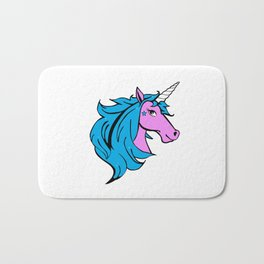 Colorful Cartoon Unicorn - Blue Bath Mat
