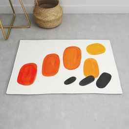 Mid Century Modern Colorful Minimal Pop Art Yellow Orange Ombre Rainbow Gradient Pebble Ovals Rug
