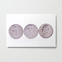 Quarter Dollor Coins Standing up Metal Print