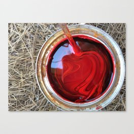 Red Paint Can on Straw Canvas Print