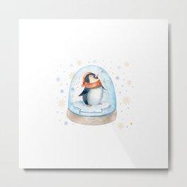Penguin Snow globe Metal Print