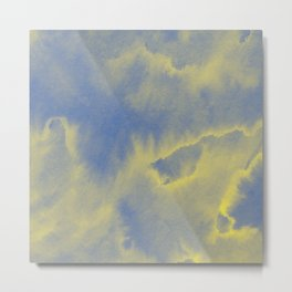 Watercolor texture - grey and yellow Metal Print