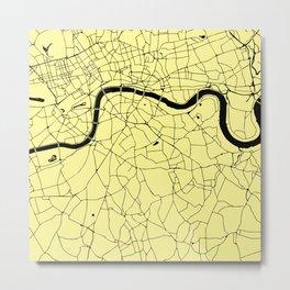 London Yellow on Black Street Map Metal Print