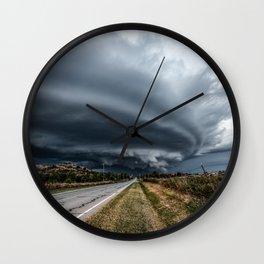 Mothership - Intense Autumn Storm Advances Over Oklahoma Plains Wall Clock