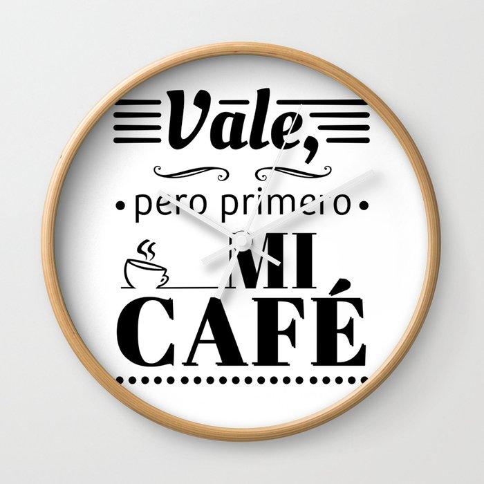 Ok, But First Coffee B/W Wall Clock