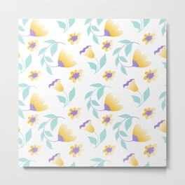 yellow flowers and teal leaves Metal Print