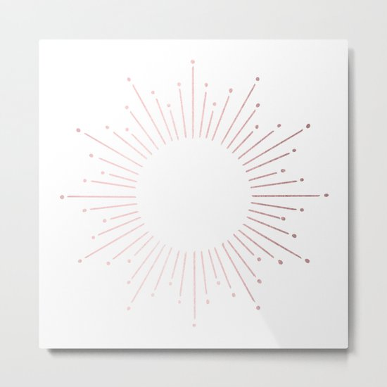 Sunburst Rose Quartz Elegance on White Metal Print