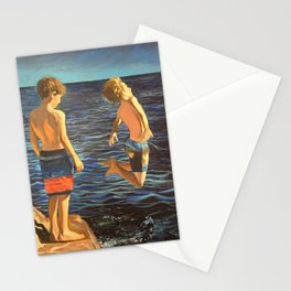 Boys jumping into the sea Stationery Cards