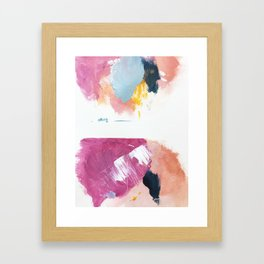 Cotton Candy: a bright, colorful abstract in pinks, blues, yellow, and white Framed Art Print