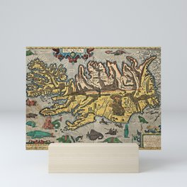 Medieval Map of Iceland with Sea Monsters Mini Art Print