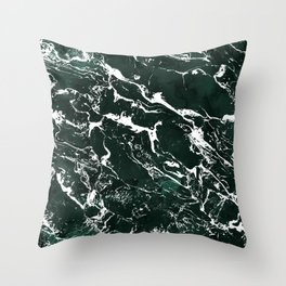 Dark green forest watercolor white marble christmas pattern Throw Pillow