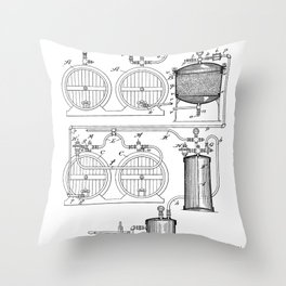 Brewery Patent - Beer Art - Black And White Throw Pillow