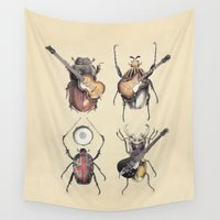 drums Wall Tapestries featuring Meet the Beetles by Eric Fan