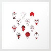 calendar Art Prints featuring Calendar monsters by Nika Belova