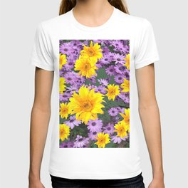 LILAC PURPLE  FLORAL ABSTRACT YELLOW FLOWERS ART T-shirt