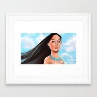 pocahontas Framed Art Prints featuring Pocahontas by Sam Pea