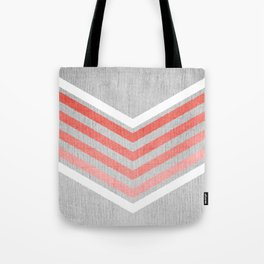 Coral Gradient Chevron on Silver Grey Wood Tote Bag