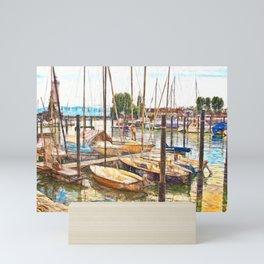 End of the sailing day in Lindau, Germany Mini Art Print