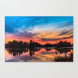 Summer Sunset over Lake Canvas Print