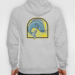 Catfish Jumping Sunburst Cartoon Hoody