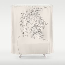 Woman with Flowers Minimal Line I Shower Curtain