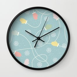 Christmas Snowflakes And Gloves Wall Clock