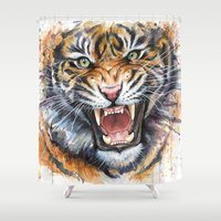 tiger Shower Curtains featuring Tiger by Olechka