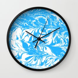Suminagashi blue and white 2 marble spilled ink ocean swirl watercolor painting Wall Clock