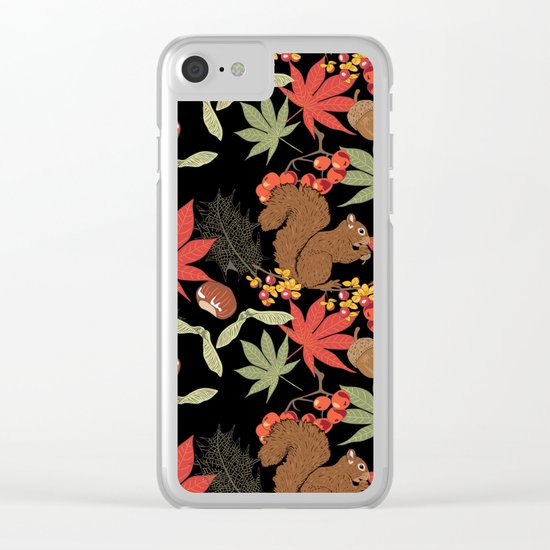 Autumn squirrel Clear iPhone Case