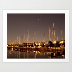 The Docks at Night Art Print