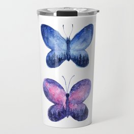 Blue and Pink Space Butterflies Travel Mug