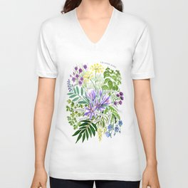 Watercolor culinary herbs Unisex V-Neck