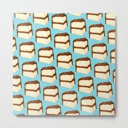 Chocolate Cake Slice Pattern - Blue Metal Print