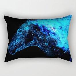 Blue Horse Fire Rectangular Pillow