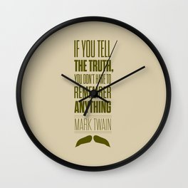 Lab No. 4 - Mark Twain quote truth life modern typographic Inspirational Quotes Poster Wall Clock