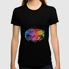 Hockey Puck Art Colorful Watercolor Ice Hockey Player Gift T-shirt