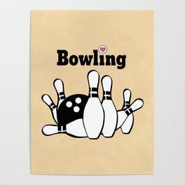 Love Bowling Illustration Poster