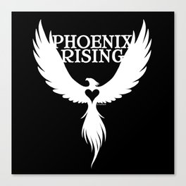 PHOENIX RISING white with heart center Canvas Print