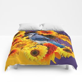 MODERN BLUE JAY &  SUNFLOWERS PURPLE ART Comforters