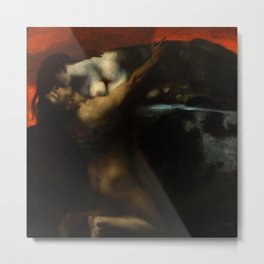 The Kiss, Lovers Amid Red romantic portrait painting by Franz von Stuck Metal Print