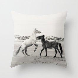 Wild Horses 5 - Black and White Throw Pillow