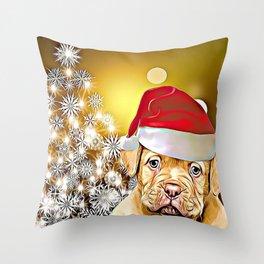 Christmas Dogue de Bordeaux Throw Pillow