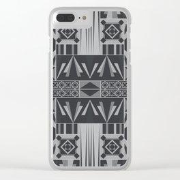 Retro Art Deco Geometry Black White Clear iPhone Case