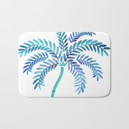 Whimsical Watercolor Palm Tree Bath Mat