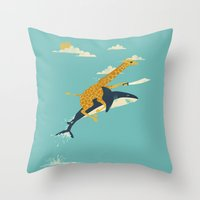 pop art Throw Pillows featuring Onward! by Jay Fleck