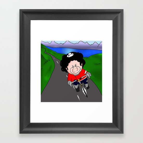 Cycling pig Framed Art Print